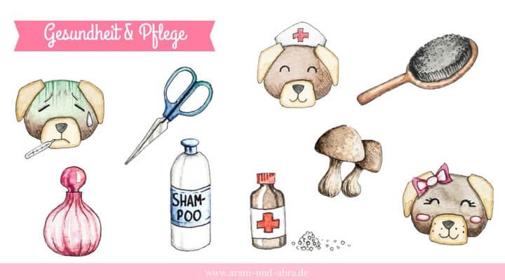 """Illustrationen für Hundeblogger - Grafik-Set """"Gesundheit & Pflege"""""""