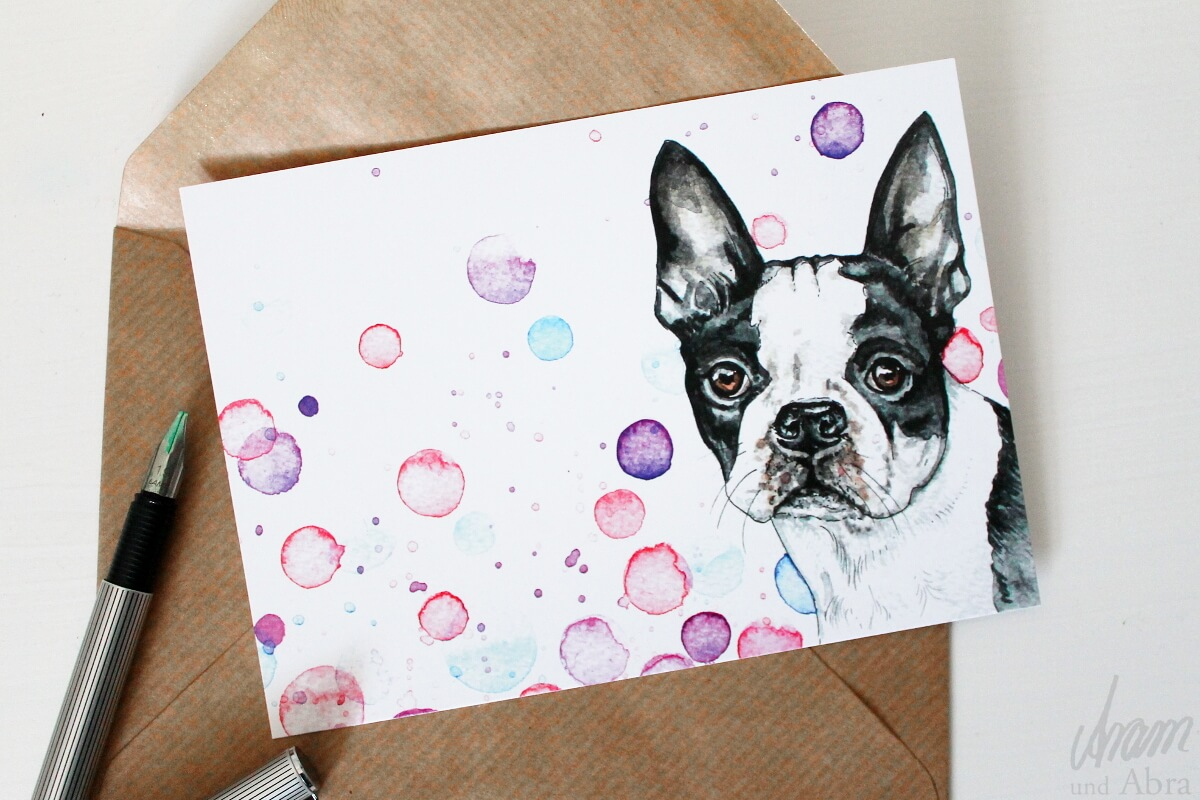Aram und Abra_Dawanda Shop_Postkarte_Boston Terrier2