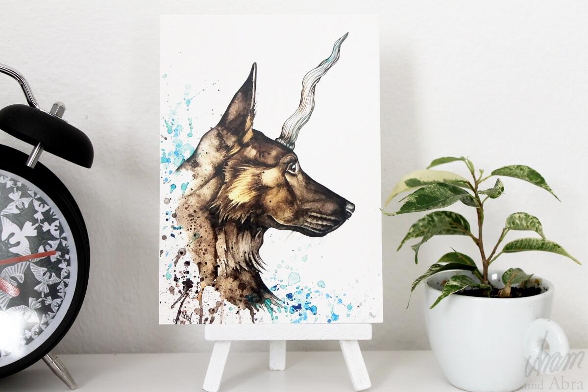 Aram und Abra_Dawanda Shop_Postkarte_Hund_Einhorn_Fantasie