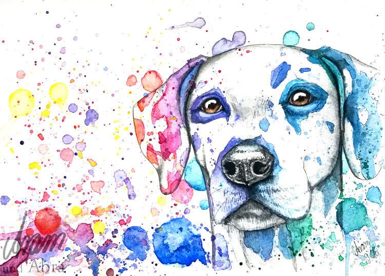 Regenbogen_Dalmatiner_Zeichnung_Aquarell_Tierporträt_Aram und Abra