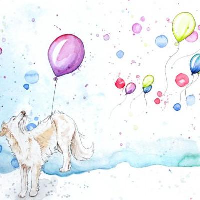 Aram und Abra_Hund zeichnen lassen_Kalender 2018_Hund mit Luftballons_Aquarell
