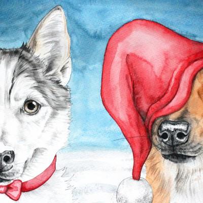Aram und Abra_Hund zeichnen lassen_Kalender 2018_Weihnachten_Aquarell