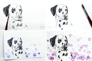 Dalmatiner_Kalender Hunde_12 handgemalte Aquarelle_Kalender 2018_Aram und Abra