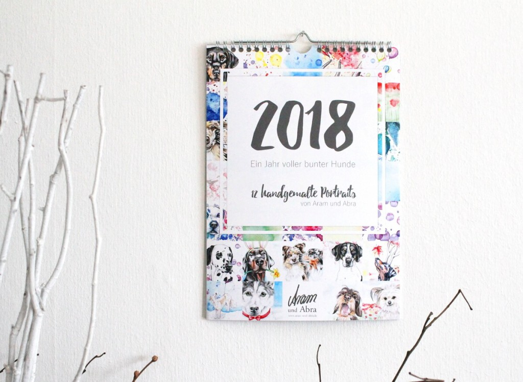 Kalender Hunde 2018_Tierportraits_handgemalte Aquarelle_Aram und Abra