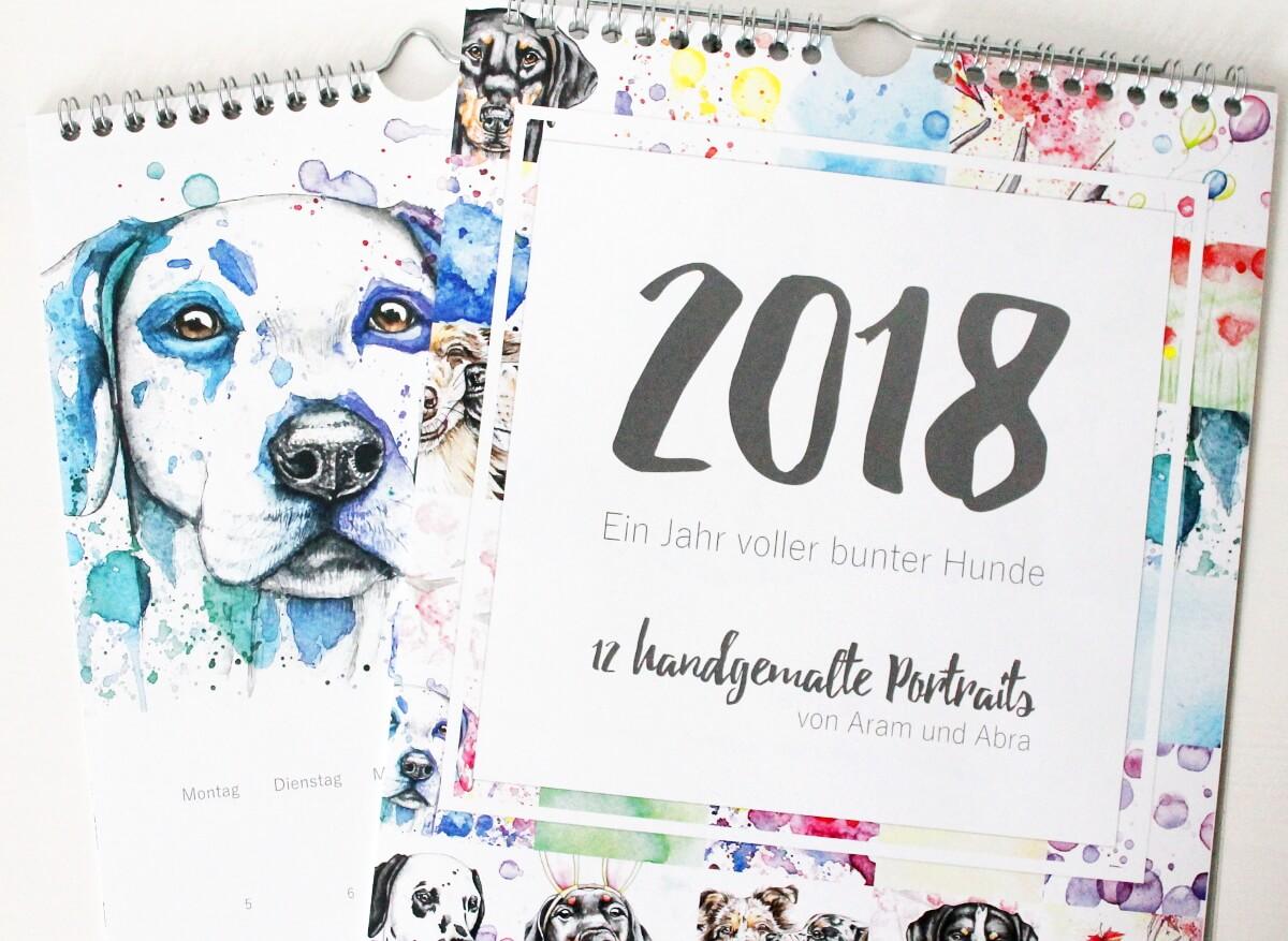 Kalender Hunde 2018_Tierportraits_handgemalte Aquarelle_Aram und Abra_4