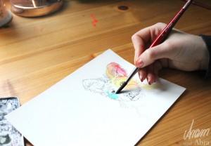 Tee im Atelier_Aram und Abra_Hund malen lassen