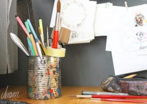 Tee im Atelier_Aram und Abra_Schreibtisch